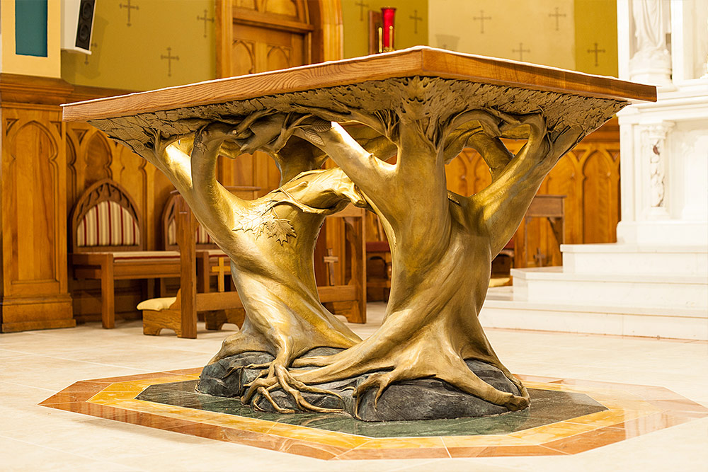 Altar Table in Bronze - St. Agnes Church - Lake Placid, NY.